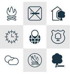 Set of 9 eco-friendly icons includes timber pin vector