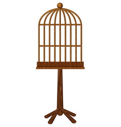 Wooden bird cage on stand vector