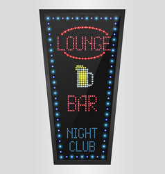 Retro sign with blue lights and the word lounge vector