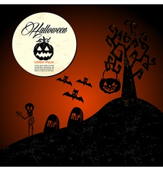 Halloween text full moon pumpkin spooky cemetery vector