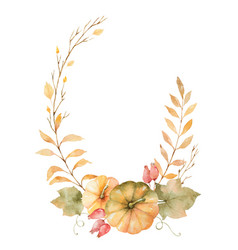 Watercolor autumn wreath of leaves vector