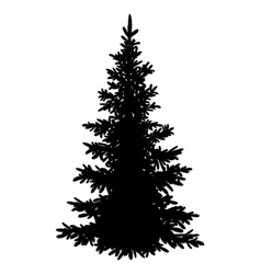 Christmas fir tree silhouette vector