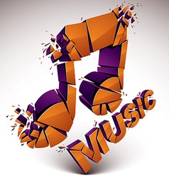3d orange demolished musical notes music word vector