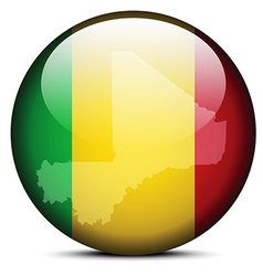 Map on flag button of mali vector