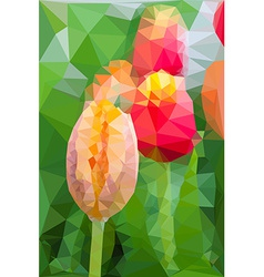 Triangular low poly style of tulip vector
