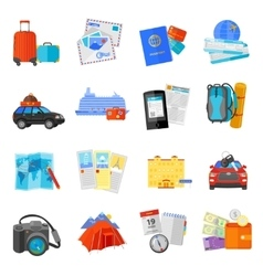 Vacation travel icons set flat vector