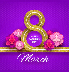 8 march international womens day greeting card - vector
