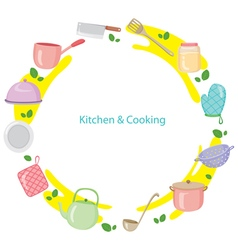 Kitchen equipment on circle frame vector