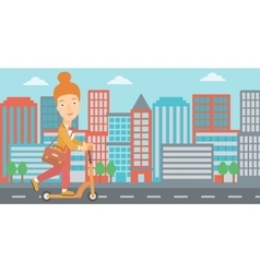 Woman riding on scooter vector image