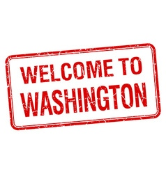Welcome to washington red grunge square stamp vector