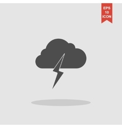 Lightning bolt weather flat line icon infographic vector