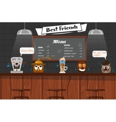 Funny best friends of barista vector