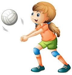 A smiling girl playing volleyball vector image