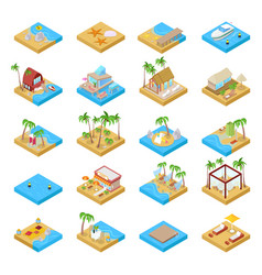 beach vacation collection with bungalow isometric vector image vector image