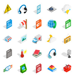 Call centre icons set isometric style vector