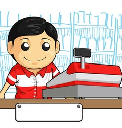 Cashier employee with friendly smile vector