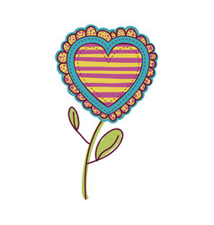 Colorful heart flower shape with lines pattern vector