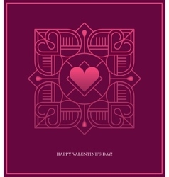 Design template with square linear heart frame vector image vector image