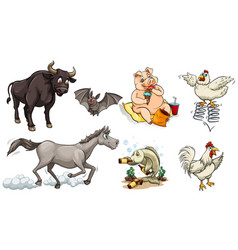 different types of animals doing different things vector image