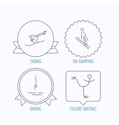 Diving figure skating and skiing icons vector image vector image