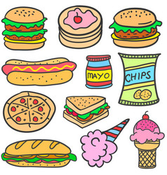 Doodle of food style design vector