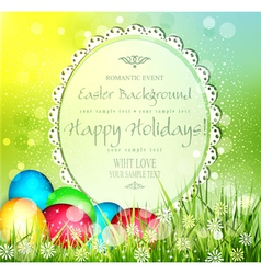easter background with frame for text and eggs vector image