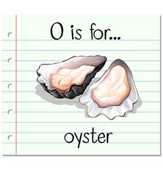 Flashcard letter o is for oyster vector