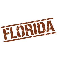 Florida brown square stamp vector