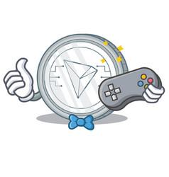 Gamer tron coin character cartoon vector