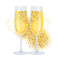golden champagne on white vector image vector image