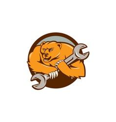 Grizzly bear mechanic spanner circle cartoon vector