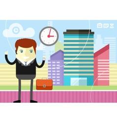 Happy businessman showing clock vector
