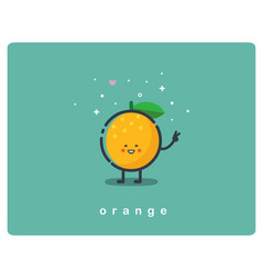 icon of orange fruit funny cartoon character vector image vector image