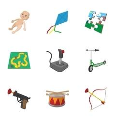 Kids fun icons set cartoon style vector image