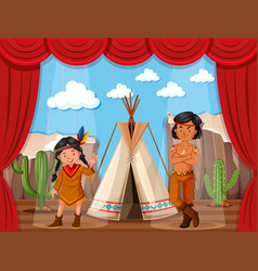 native americans roleplay on stage vector image