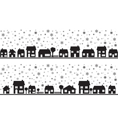 Neighborhood with snowflakes vector