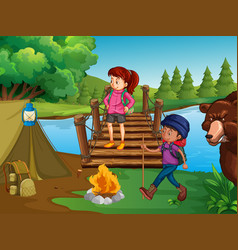People hiking and camping in the wilderness vector