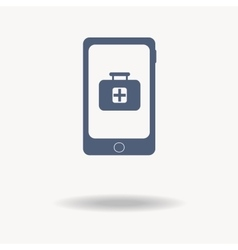 phone icon with a pharmacy sign Plus sign Help vector image