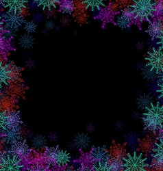 Rectangular frame with small colorful snowflakes vector image