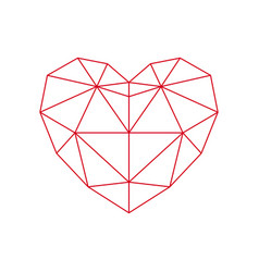 red polygon heart - icon vector image