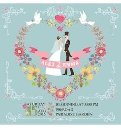 Retro wedding invitationBride groomfloral vector image