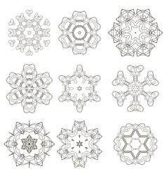 Round geometric ornaments set vector