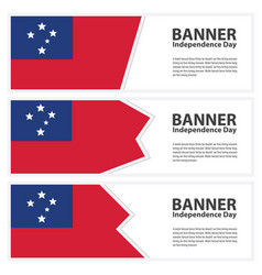Samoa flag banners collection independence day vector