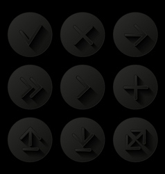 Set of icons with long shadow vector image vector image