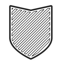 shield in monochrome contour and striped vector image vector image