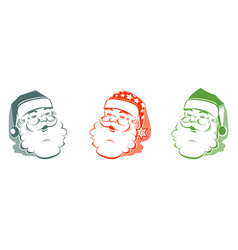 silhouette of santa claus head set vector image vector image