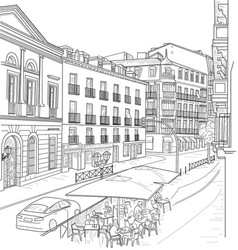 sketch of the street of madrid vector image vector image