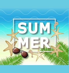 summer background with with starfish and vector image vector image