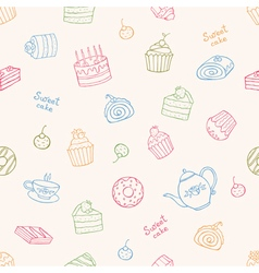 Sweet cakes and tea seamless pattern vector