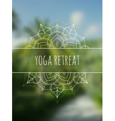 Tropical yoga retreat banner with mandala vector